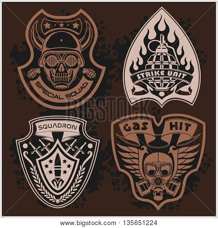 Set Of Military and Army Patches and Badges 4 on dark