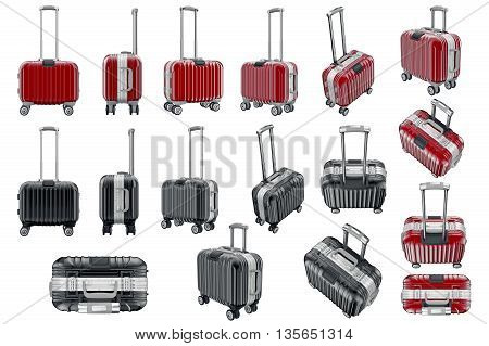 Set luggage travels. 3D graphic object isolated on white background