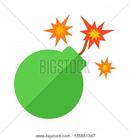 Explosive bomb military and army weapon. Soldier combat bomb gun. Grenade armed attack explode. Destruction steel bomb equipment. Grenade bomb explosion weapons vector.