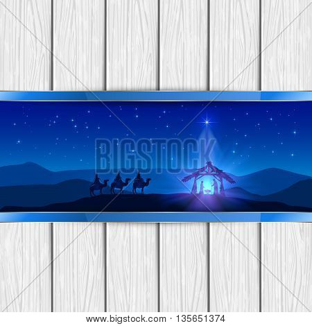 Christmas scene, the birth of Jesus with Christmas star and three wise men on white wooden background, illustration.