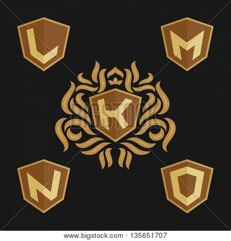 Decorative ornate monogram emblem template. Set of vector monogram. Vector sign. Shield with crown and letters from K to O.