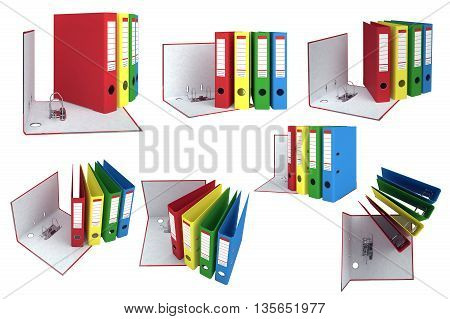 Office folder with mechanism. Open and closed folder. 3D graphic object isolated on white background