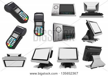 Set POS terminal white on background. 3D Graphic
