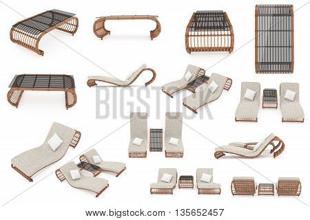 Set rattan furniture for a comfortable stay with deck chairs and a table. 3D graphics