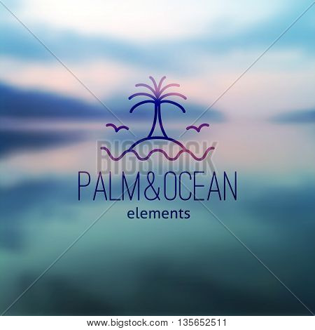 logo of palm on island and waves, vector template for travel agency