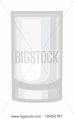 Empty drinking glass transparent liquid reflection blank alcohol single cup. Transparent empty glass cup vector illustration. Drink object, white water clear empty glass cup purity thirst.
