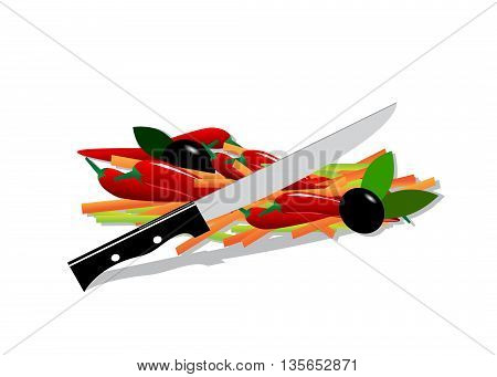 icon food . Cut vegetables and knife on white background