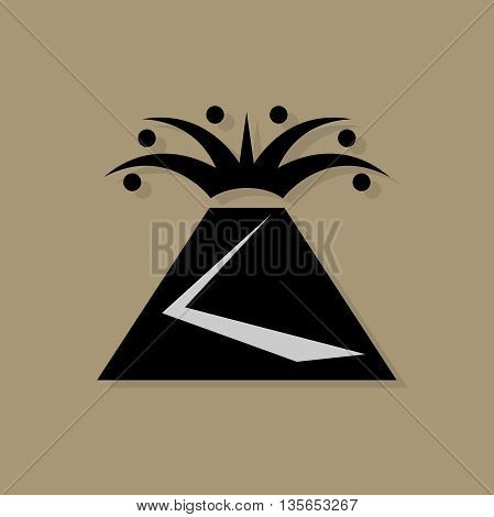 Abstract Volcano icon or sign, vector illustration