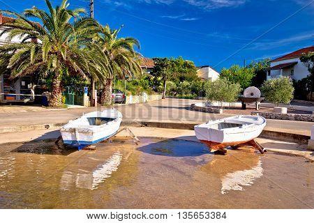 Ugljan coastal island village waterfront view Dalmatia Croatia