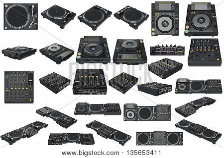 Srt professional table dj equipment mixer with vinyl player. 3D graphic