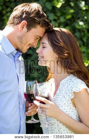 Romantic couple holding wineglasses at front yard