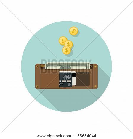 Wallet with money in flat style. Purse vector simple illustration. Brown wallet icon.