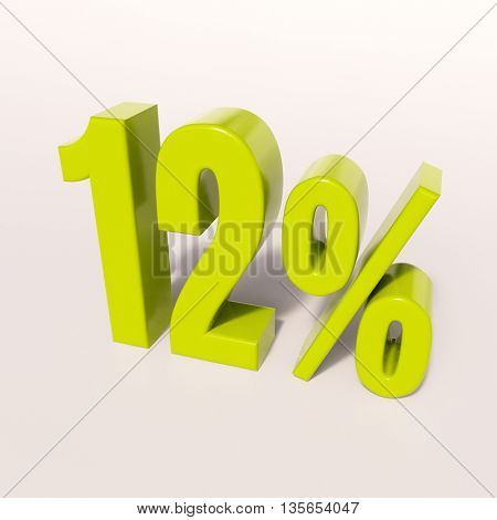 3d render: green 12 percent, percentage discount sign on white, 12%