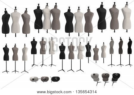 Set female mannequins with stand retro style. 3D graphic