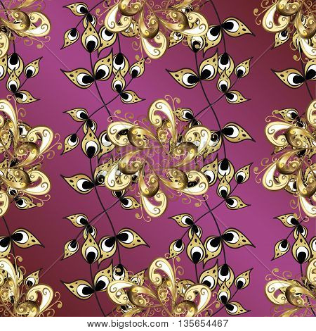 Vintage pattern on lilac gradient background with golden elements.