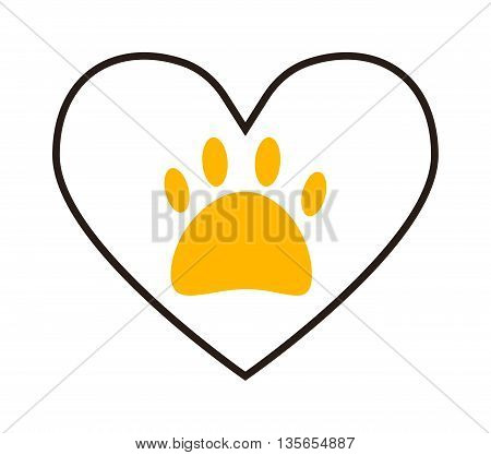 Vector circle heart icon on white background. Footprint symbol shaped pet dog foot. Cartoon graphic track walk design silhouette dog foot. Abstract style mammal art puppy trace black footprint.