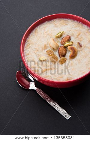 sweet Kheer or khir payasa, gil-e-firdaus, fereni also known as Sheer Khurma Seviyan, popular sweet dish