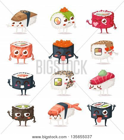 Fun sushi characters and sashimi. Japanese sushi characters food with cute faces happy vector illustration set. Japanese comic seafood cuisine sushi characters funny food icon asian menu culture.