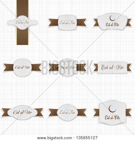 Eid al-Fitr festive Banner Templates Set. Vector Illustration