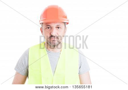 Portrait Of Mature Attractive Constructor Wearing Safety Equipment
