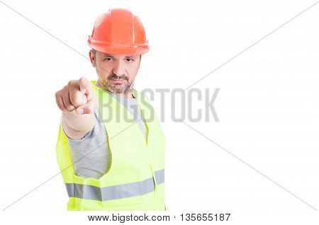Young Builder Working And Pointing Finger At You