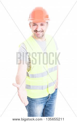 Happy Smiling Constructor Or Builder Showing Double Like Sign