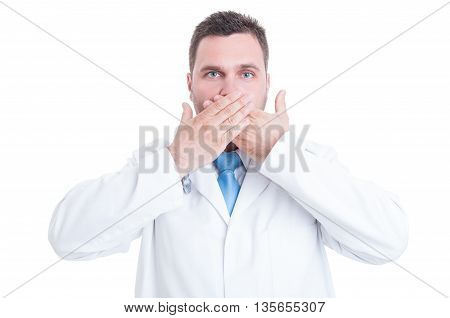 Concept Of Male Medic Or Doctor Making Mute Gesture