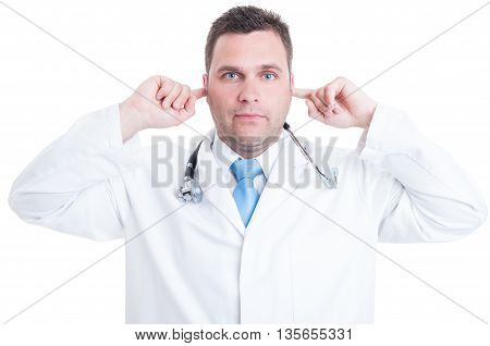 Concept Of Male Medic Or Doctor Making Deaf Gesture