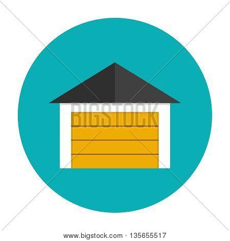 Garage icon flat. Car garage with closed gates