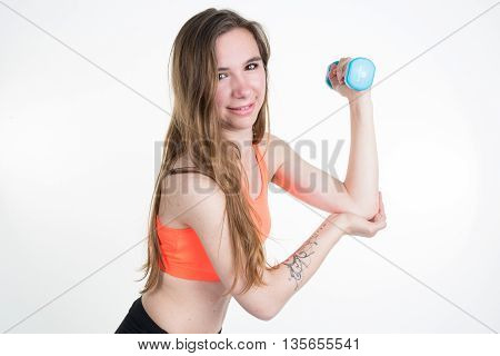Happy Fitness Woman Lifting Dumbbells Smiling Cheerful, Fresh And Energetic.