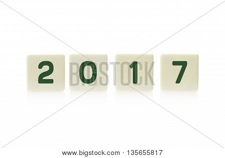 2017 on plastic game board tiles isolated on white