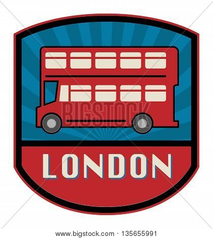 Abstract London Bus label or sign, vector illustration