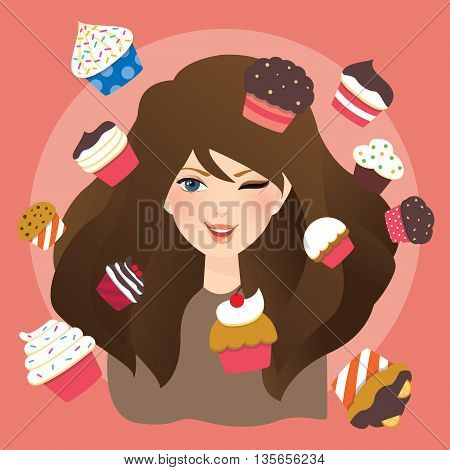 beautiful girls woman with cup cakes illustration vector