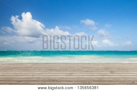 Wooden Pier With Bright Ocean Seascape