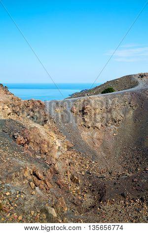 Volcanic Land In Europe Santorini Greece Sky And Mediterranean Sea