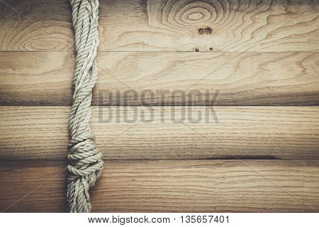 old wooden texture with ship rope background