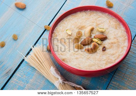 sweet Kheer or khir payasa, gil-e-firdaus, fereni also known as Sheer Khurma Seviyan, popular sweet dish