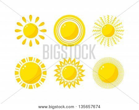 Vector sun icon isolated on white background. Sun Vector isolated summer icon design. Vector yellow sun symbol. Vector sun sun element. Sun weather icon vector sun logo isolated sign symbol