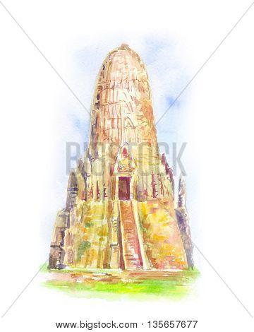 Temple in Thailand. Ayutthaya. The Buddhist stupas.Sketch hand-drawn illustration.