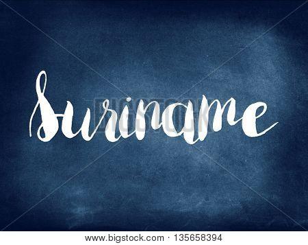 Suriname  written on blackboard