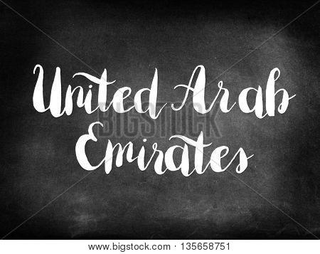 United Arab Emirates written on blackboard