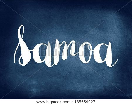 Samoa written on blackboard