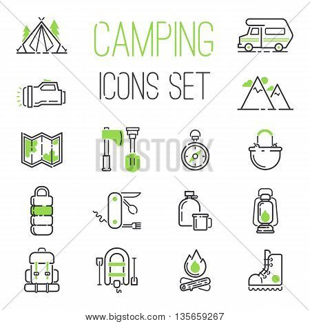 Summer camping icon vector set. Folding knife inflatable boat, mountains camping icons. Camping icons compass travel campfire outdoor fire picnic summer leisure. Forest trailer tourism nature.