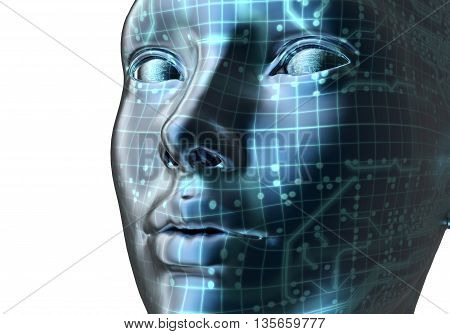 Electronic Woman Or Female Cyborg On Binary Background,