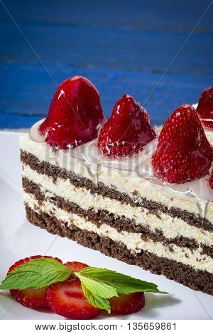 Strawberry Cake with Copy Space