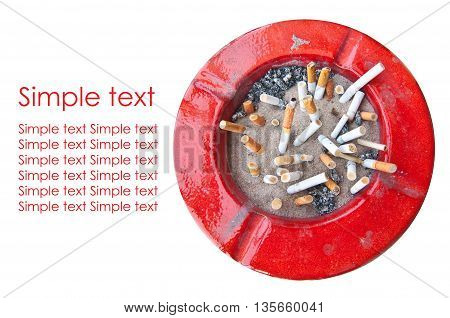 ashtray red on white background , simple text