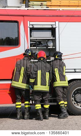 Brave Firefighters With Fire Engine Truck