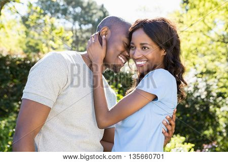 Young couple embracing in the park on a sunny day
