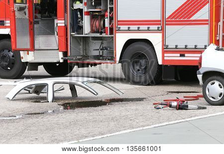 Road Accident With Car Parts