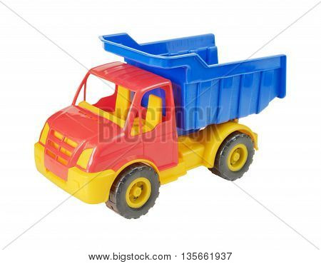 Multicolored plastic toy truck isolated on white background